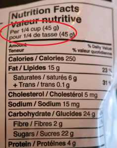 Picture of nutriton label for chocolate almonds